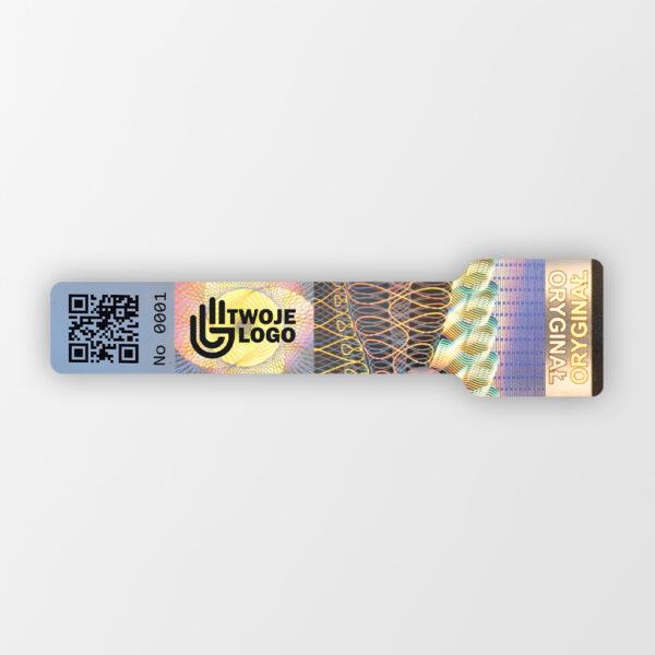 Plomba holograficzna zabezpieczająca z logo, Holo Seal 1, 15 x 60 mm z perforacją #1
