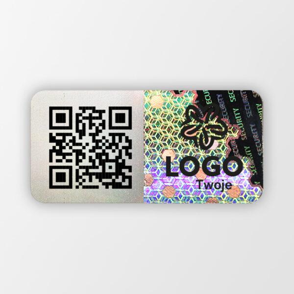 Plomba holograficzna zabezpieczająca z logo, QR i perforacją, Holo Seal 3, 24 x 12 mm #1
