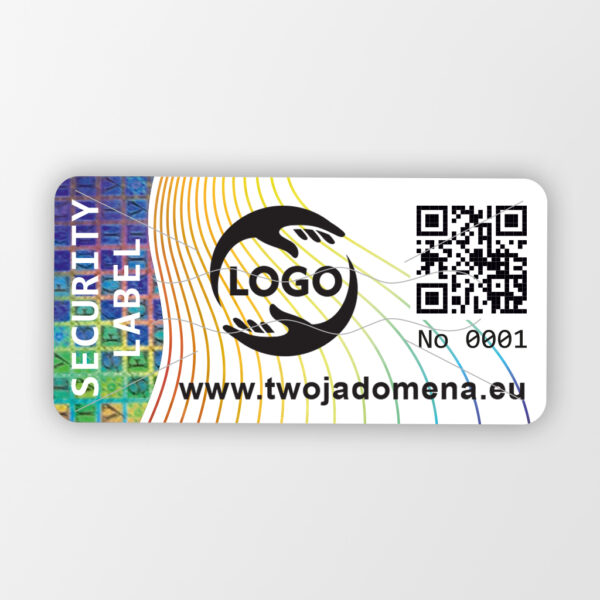Plomba Security Label 40 x 20 mm / Etykieta plombowa z kodem QR i logo #1