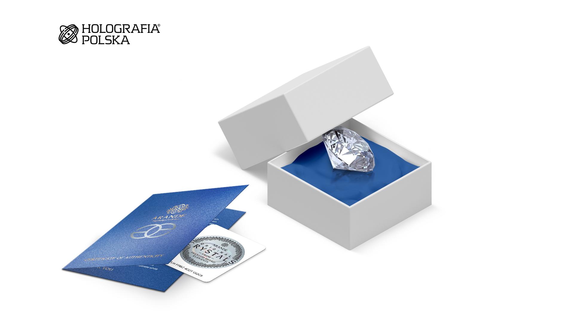Certyfikat i etykieta na kryształy dla firmy Arande